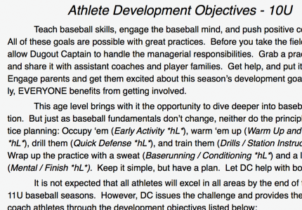 Athlete Development Plan Screen Image